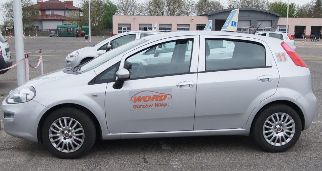 Zdjęcie srebrnego Fiata Punto z logotypem WORD