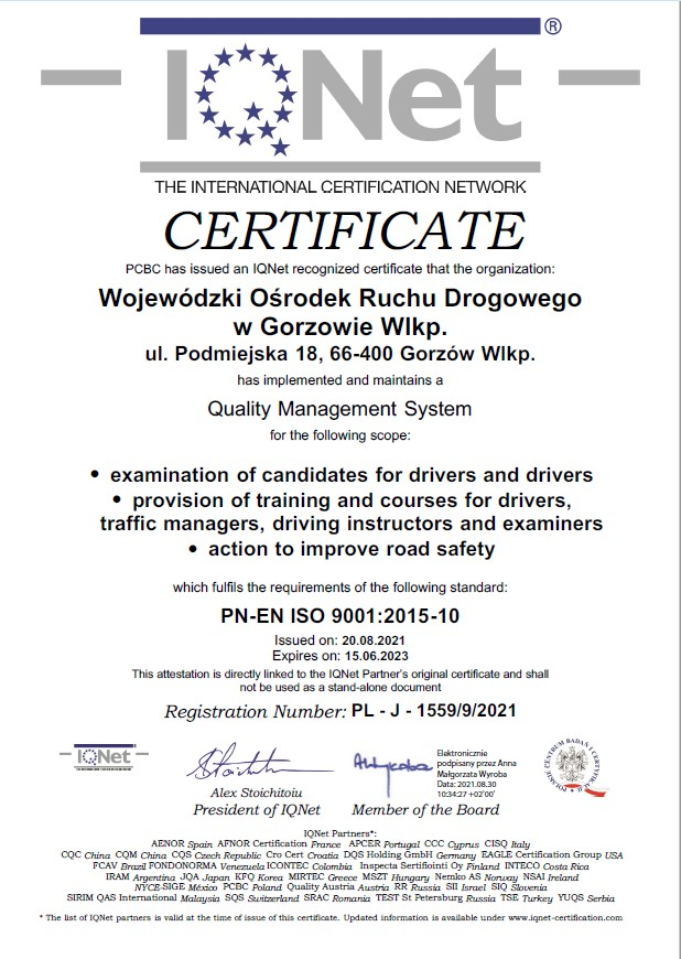 Certyfikat IQNET